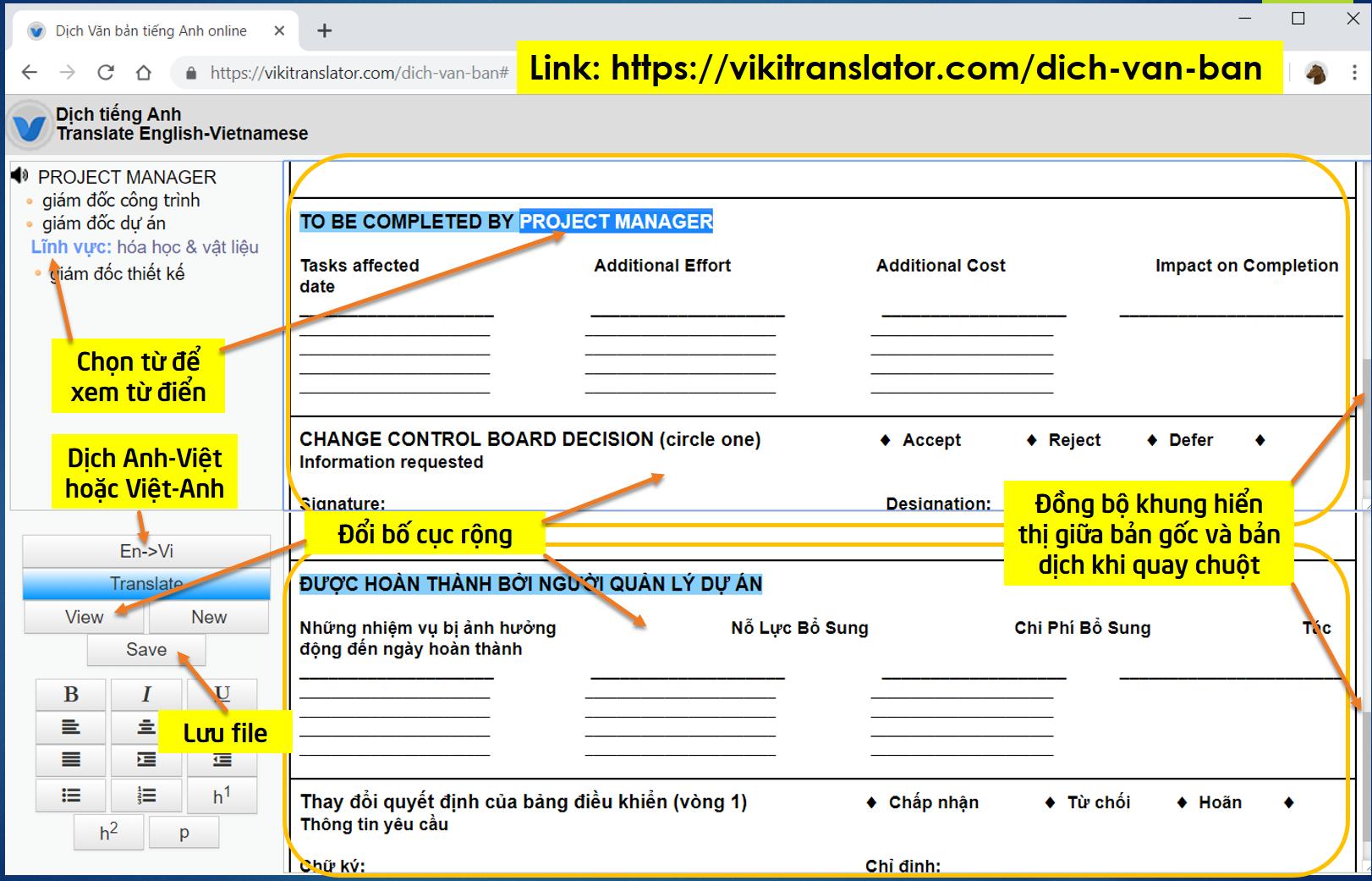 VIKI Translator hỗ trợ Dịch văn bản tiếng Anh giữ nguyên định dạng
