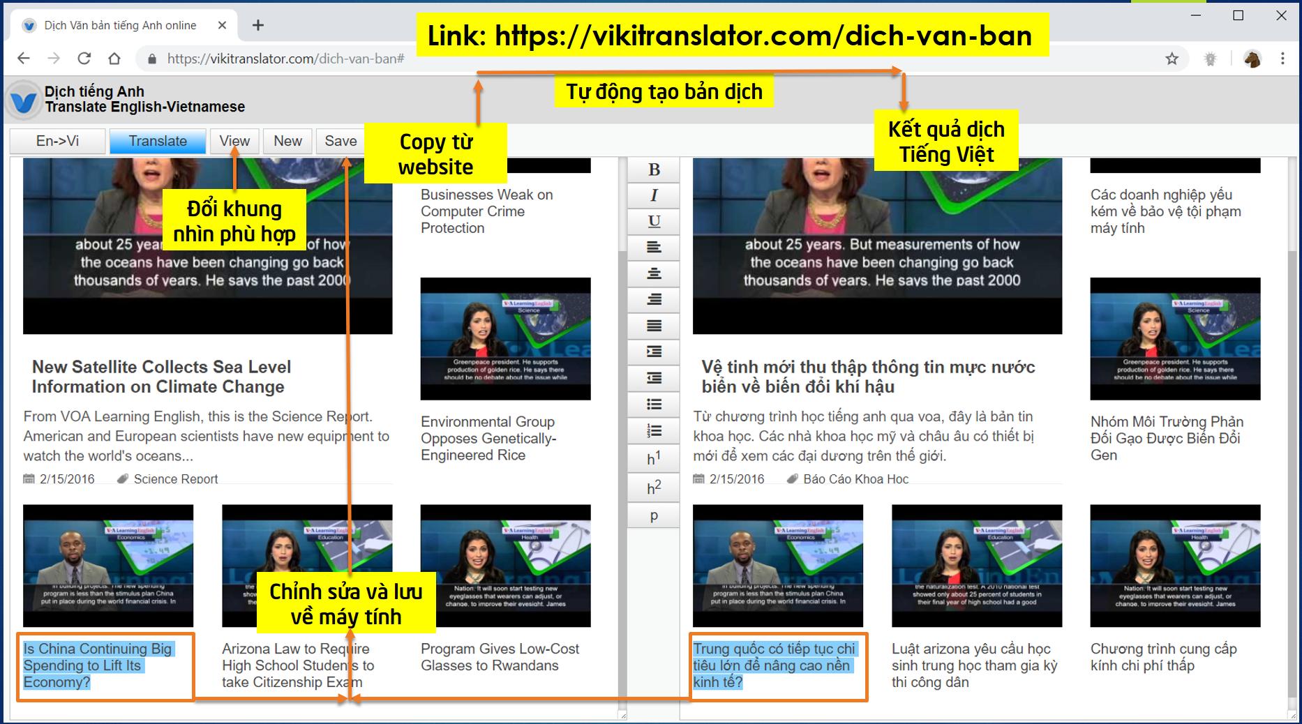 VIKI Translator - Phần mềm online hỗ trợ dịch thuật